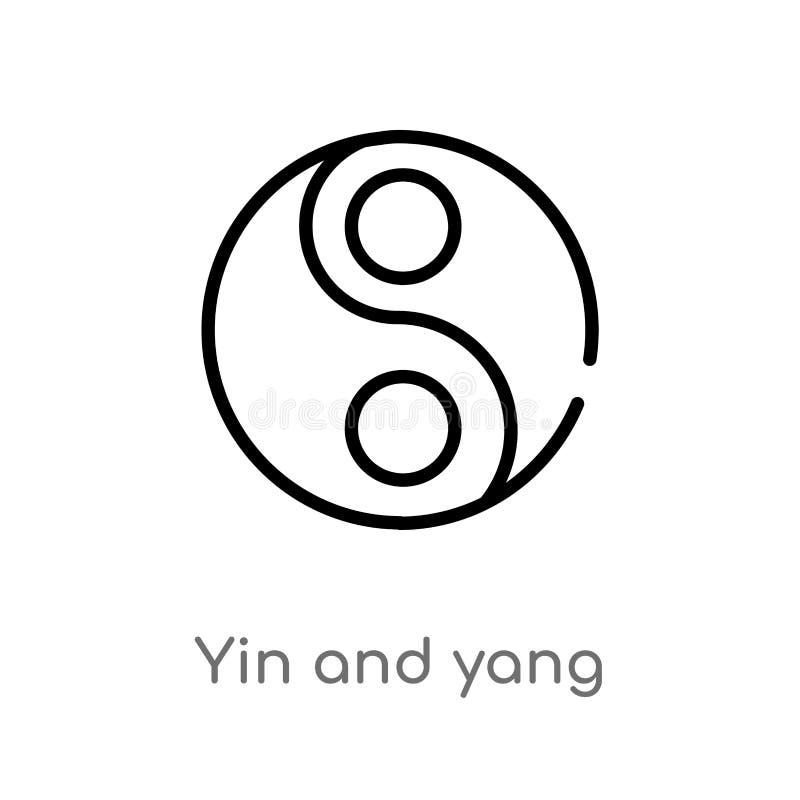 yin del esquema e icono del vector de yang l?nea simple negra aislada ejemplo del elemento de formas y del concepto de los s?mbol ilustración del vector