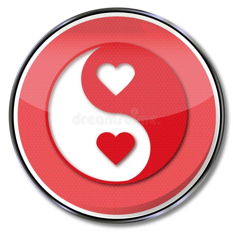 Yin do sinal e yang do amor ilustração do vetor