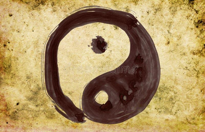 Yin e símbolo pintados mão de yang ilustração stock