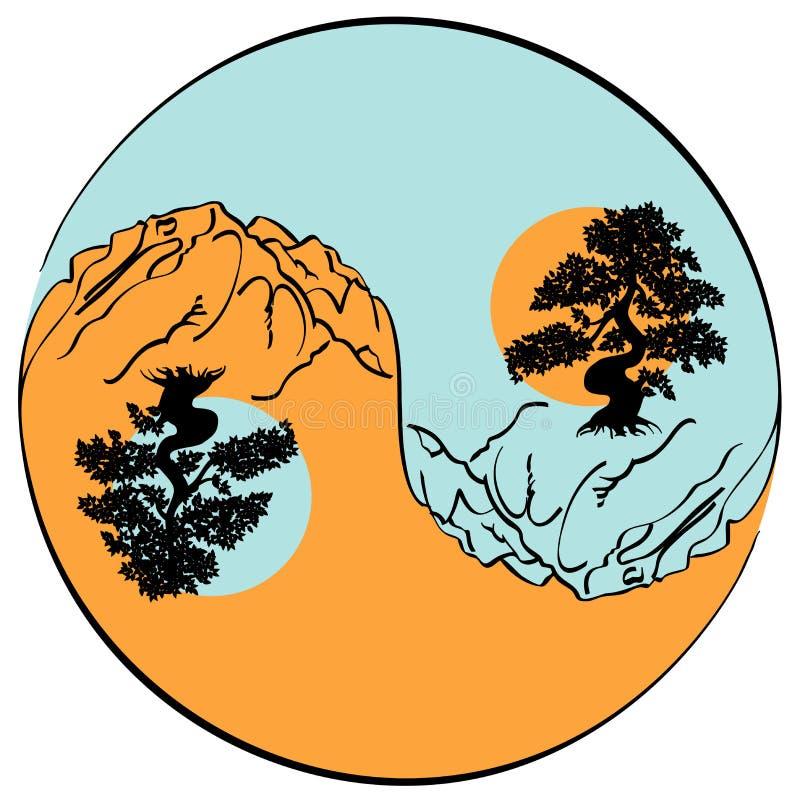 Yin e yang ilustração do vetor