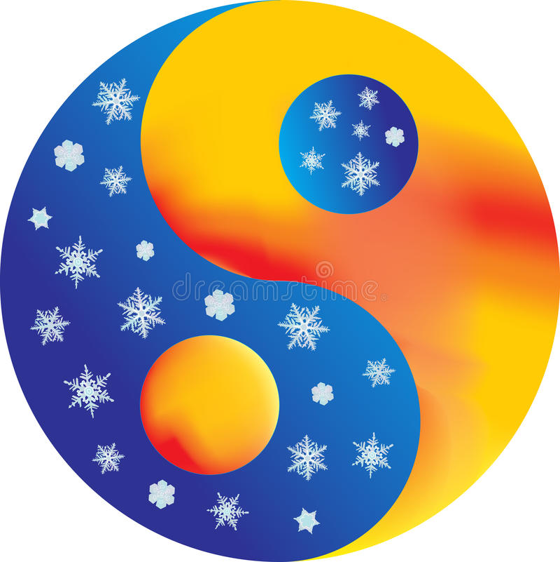 Yin e yang - caldi e freddo illustrazione vettoriale