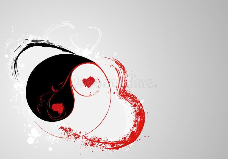 Yin e yang di S.valentine royalty illustrazione gratis