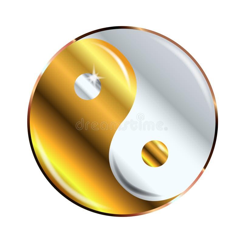 Yin e Yang Gold And Silver ilustração do vetor
