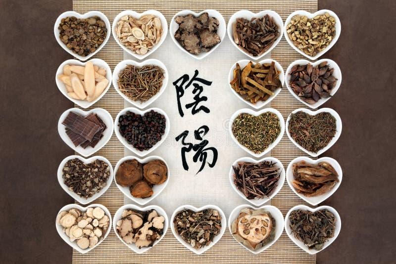 Yin e Yang Herbs fotografia de stock royalty free