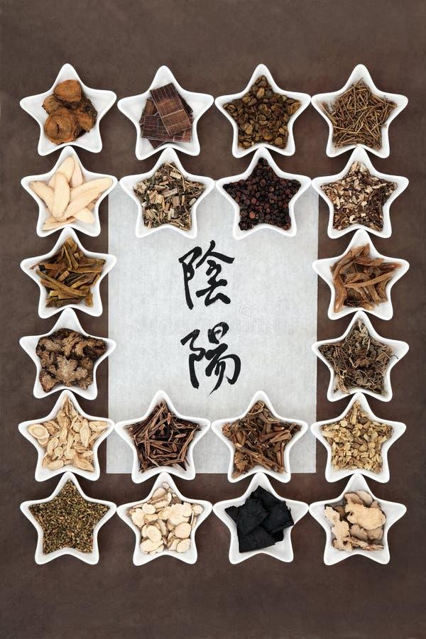 Yin e Yang Herbs imagem de stock