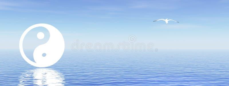 Yin e yang no oceano azul ilustração do vetor