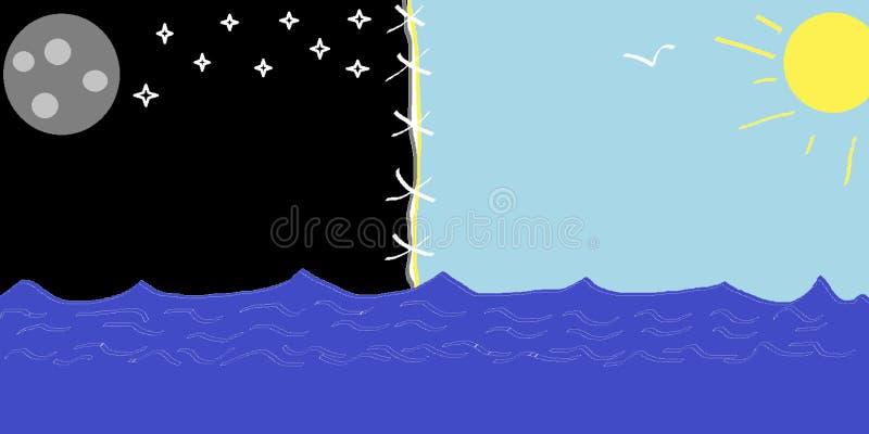 Yin e Yang, Sun e lua ilustração do vetor