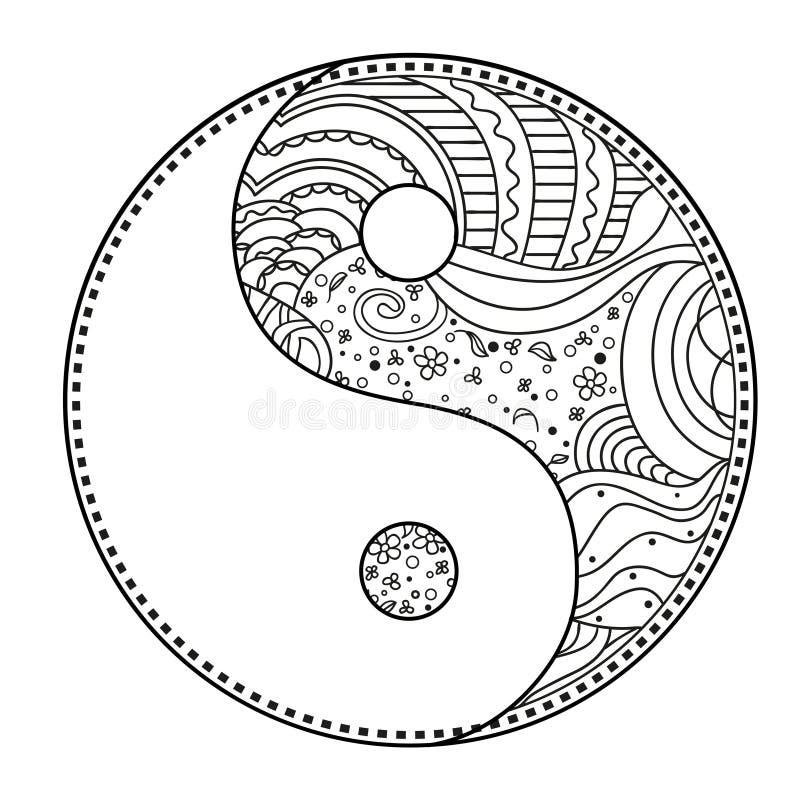 yin e yang zentangle illustrazione vettoriale