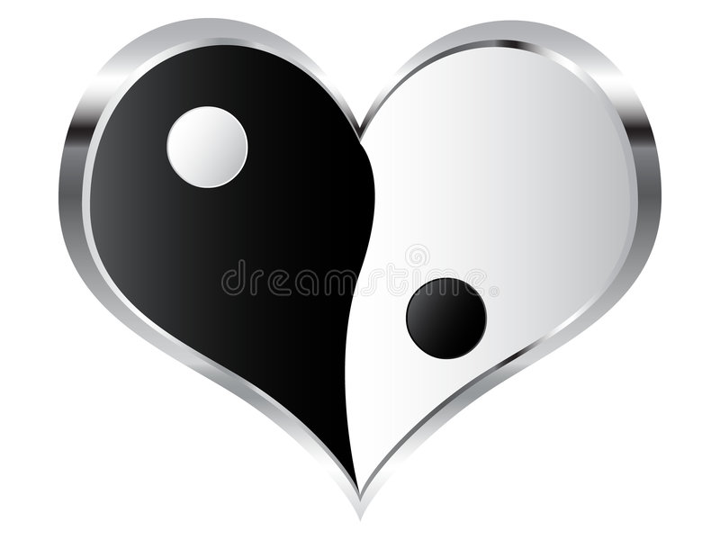 Yin en yang hart stock illustratie