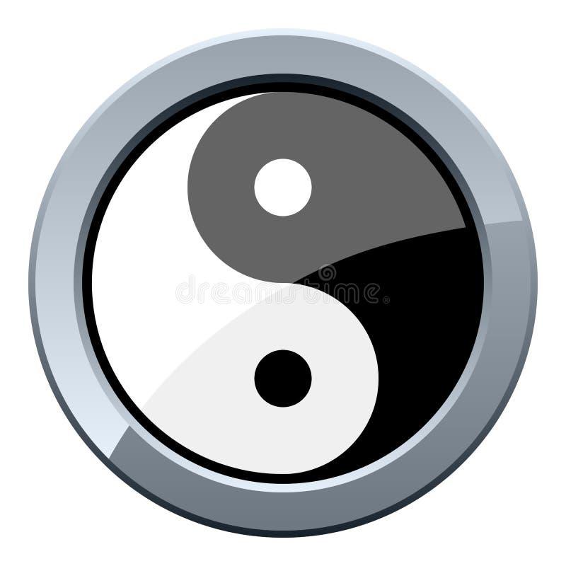 Yin et bouton en métal de Yang illustration libre de droits