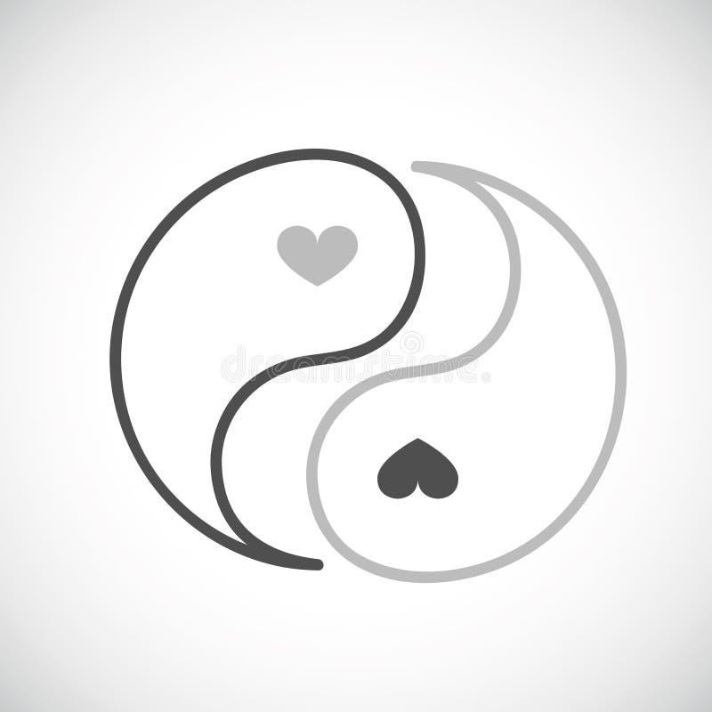 Yin i Yang para z sercami royalty ilustracja