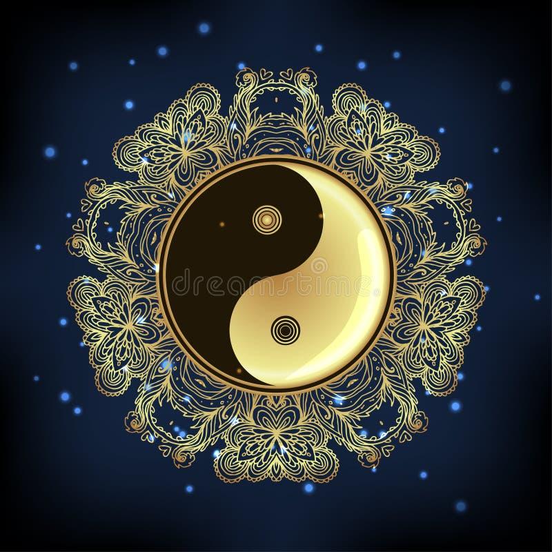 Yin i Yang Tao mandala symbol Round ornamentu wzór wektor ilustracja wektor