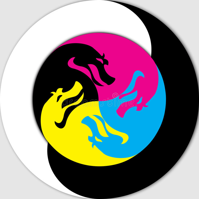 Yin och Yang - drake royaltyfri illustrationer