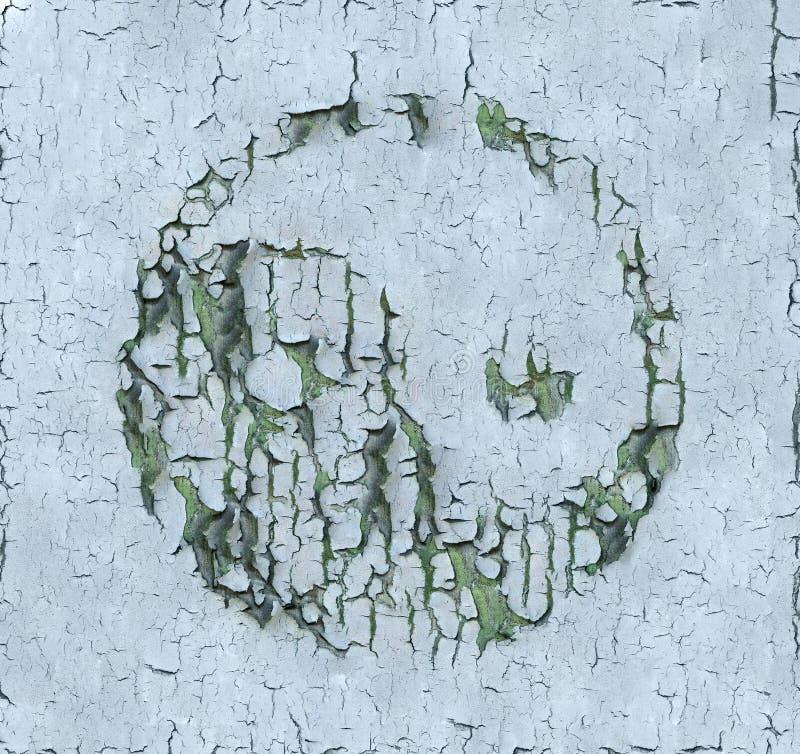Yin och Yang: Sprucken målarfärg på den wood panelen royaltyfri foto