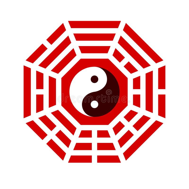 Yin och yang symbol med baguaordning royaltyfri illustrationer
