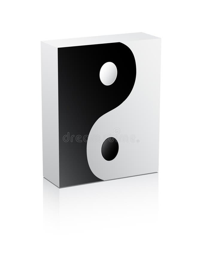 Yin und Yang-Zeichen auf Kasten vektor abbildung