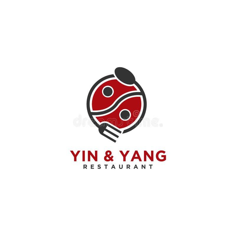 Yin y logotipo o ejemplo de Yang Restaurant para el negocio ilustración del vector