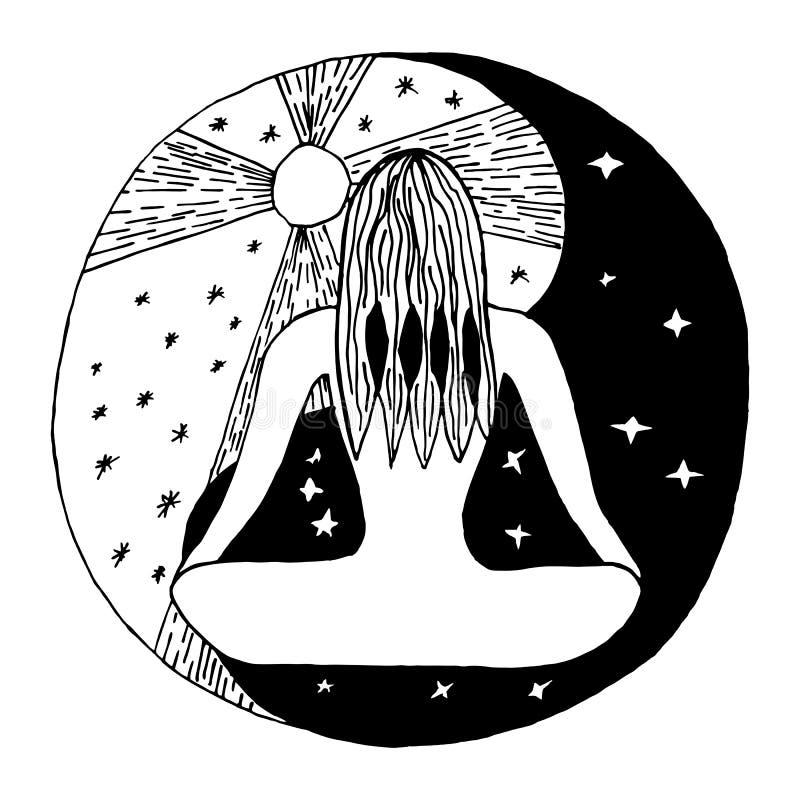Yin y símbolo decorativo de yang stock de ilustración