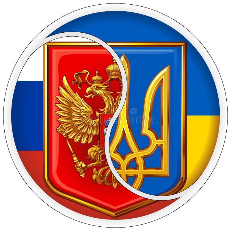 Yin y yang de la etiqueta engomada Escudos de armas de Rusia y de Ucrania en el fondo de banderas nacionales imagen de archivo
