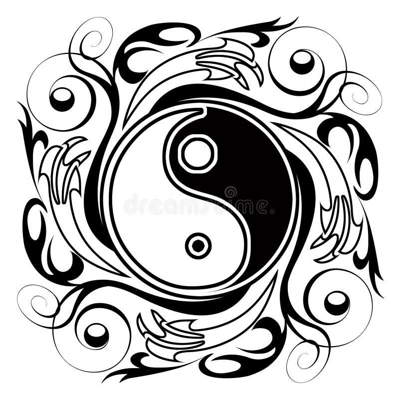 Yin y Yang Tatoo ilustración del vector