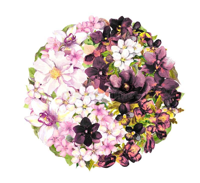 Yin yan, símbolo ying de yang com flores watercolor fotografia de stock royalty free