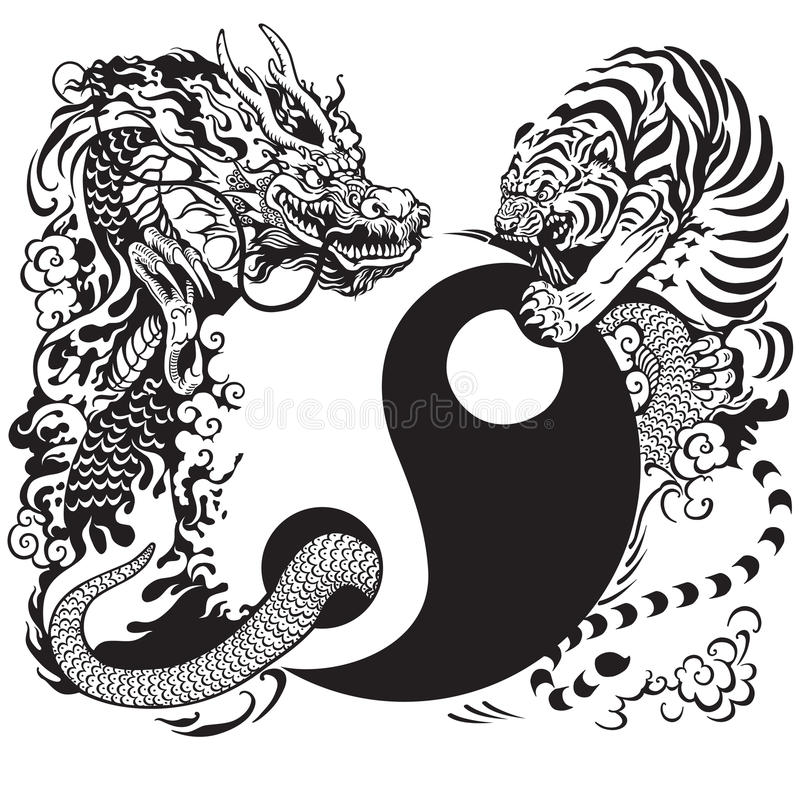 Yin yang με το δράκο και την τίγρη διανυσματική απεικόνιση