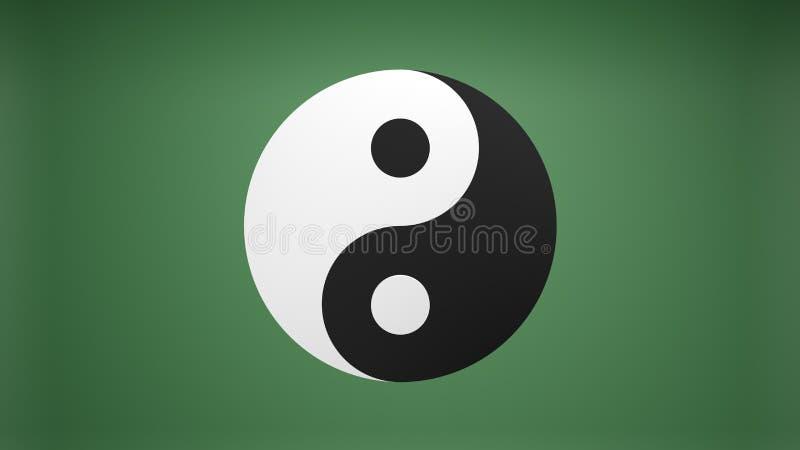 Yin Yang που απομονώνεται σε πράσινο απεικόνιση αποθεμάτων