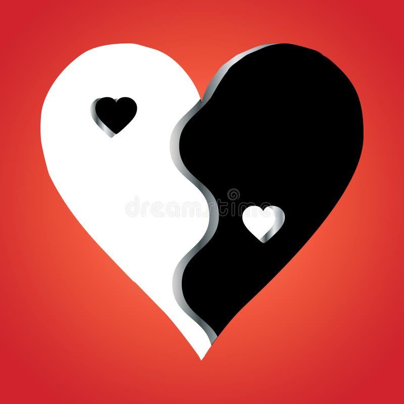 yin yang влюбленности предпосылки красное бесплатная иллюстрация
