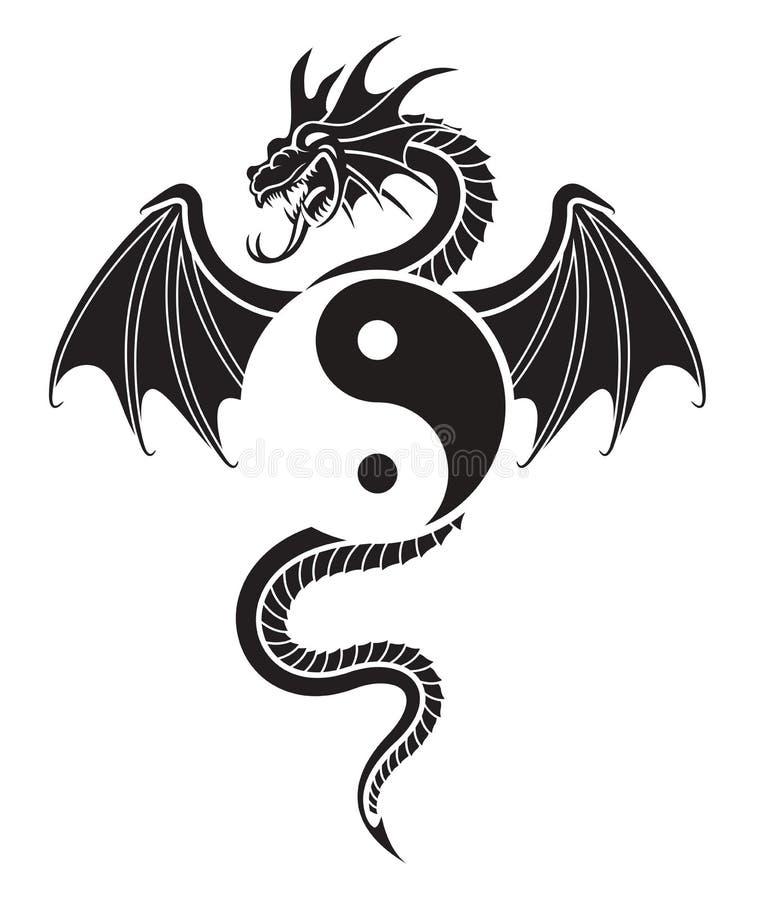 yin yang дракона иллюстрация вектора
