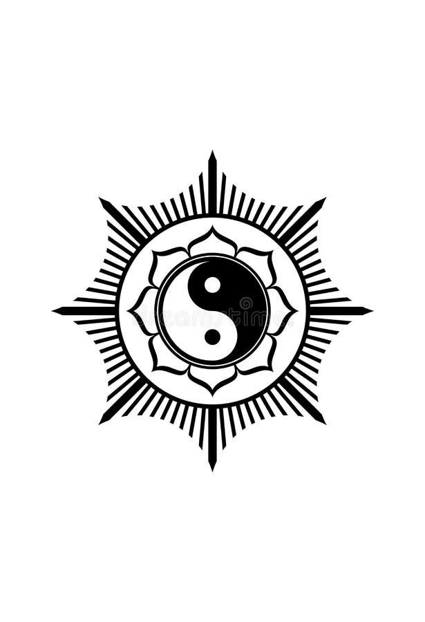 Yin yang подписывает в рамке лотоса изолированной в белой векторной графике предпосылки иллюстрация вектора