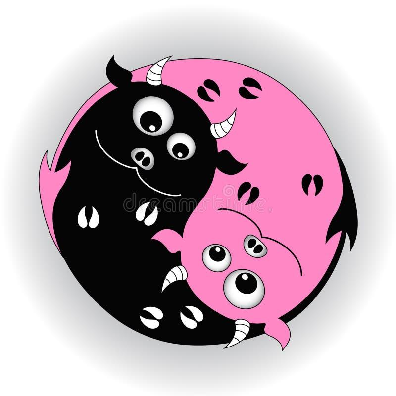 Yin yang символа с дьяволами иллюстрация вектора