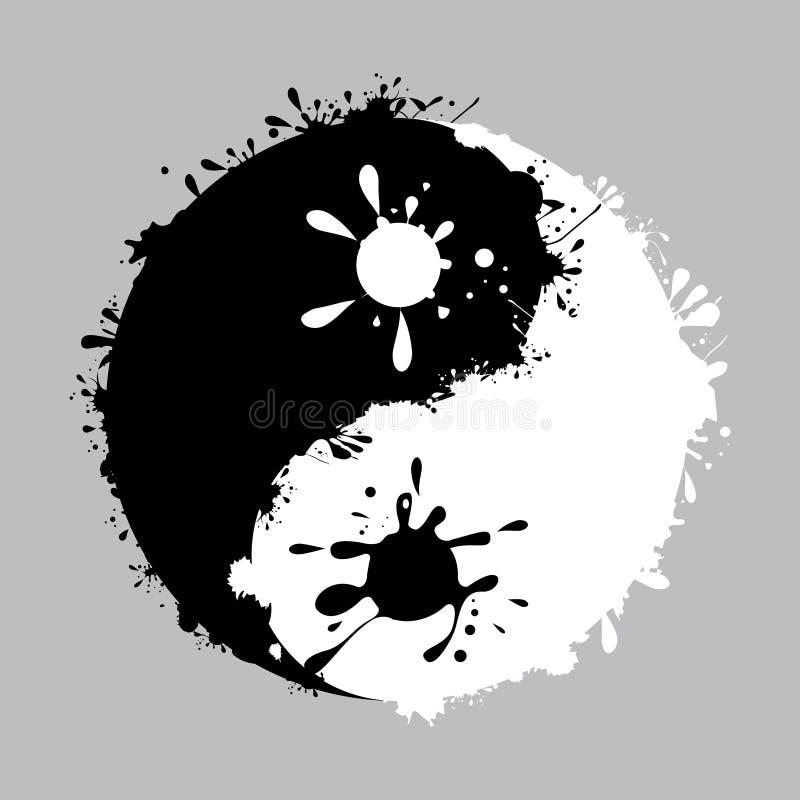 Yin-yang с капанием чернил иллюстрация вектора