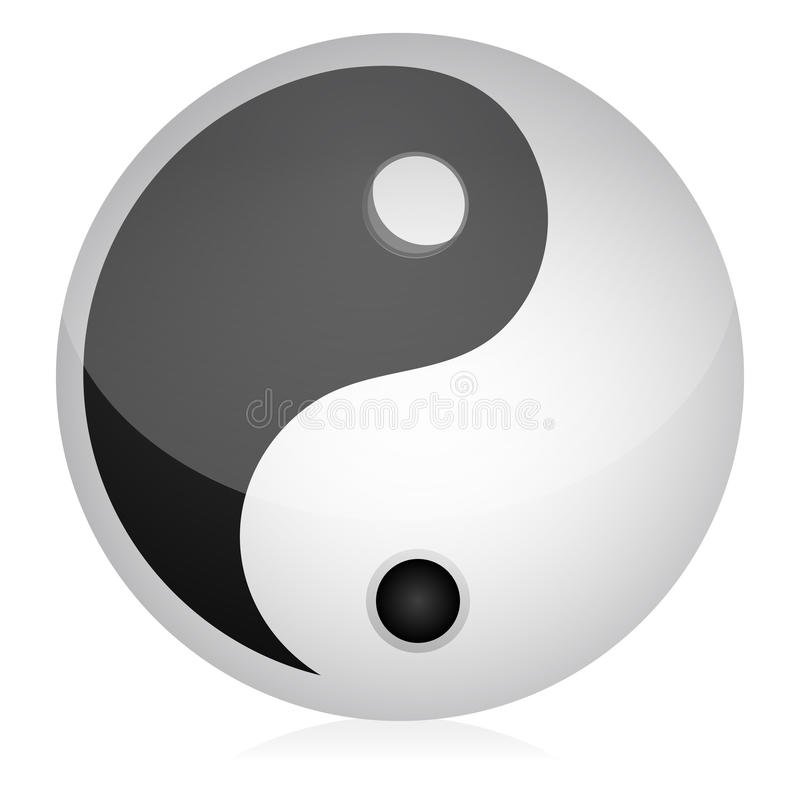 Yin yang. Illustration of yin yang on an isolated background royalty free illustration