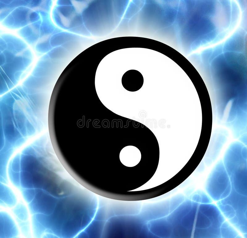 Yin Yang. Symbol of yin yang over magic background stock illustration