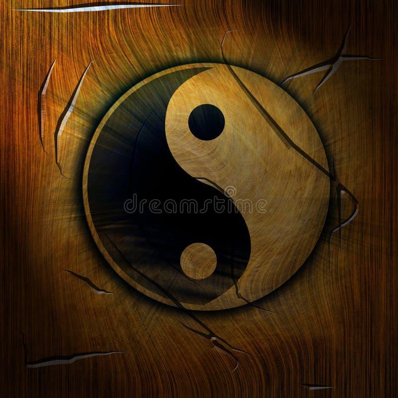 Yin yang. Symbol on a wooden background vector illustration