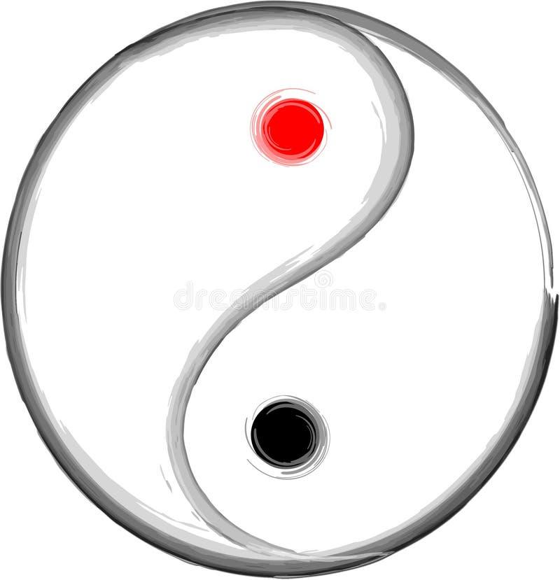 Yin yang. Ine drawing of yin yang elements symbol in illustrator vector illustration