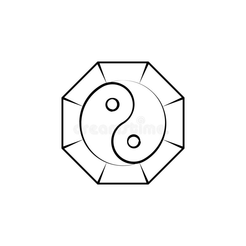 Yin yang, alternatief geneeskundepictogram Element van alternatief geneeskundepictogram voor mobiele concept en webtoepassingen D stock illustratie