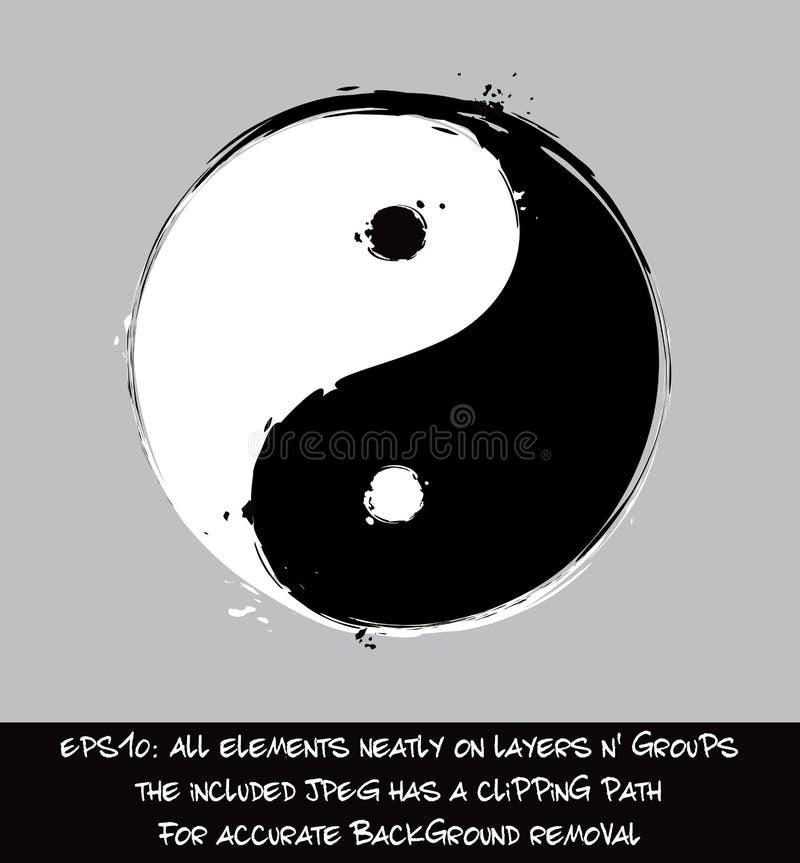 Yin Yang - Artystyczni muśnięć uderzenia royalty ilustracja