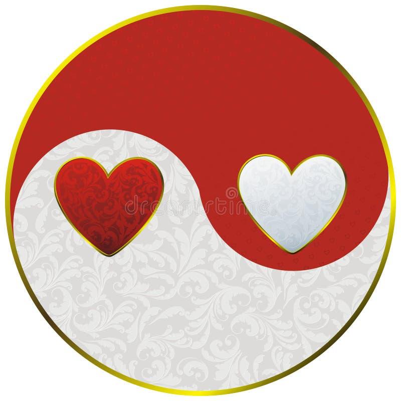 Yin yang as hearts. Sign yin yang decorated vintage plant pattern and hearts royalty free illustration