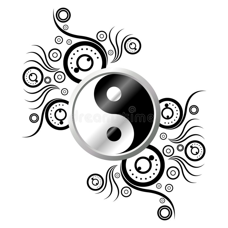 Yin Yang avec l'ornement illustration stock