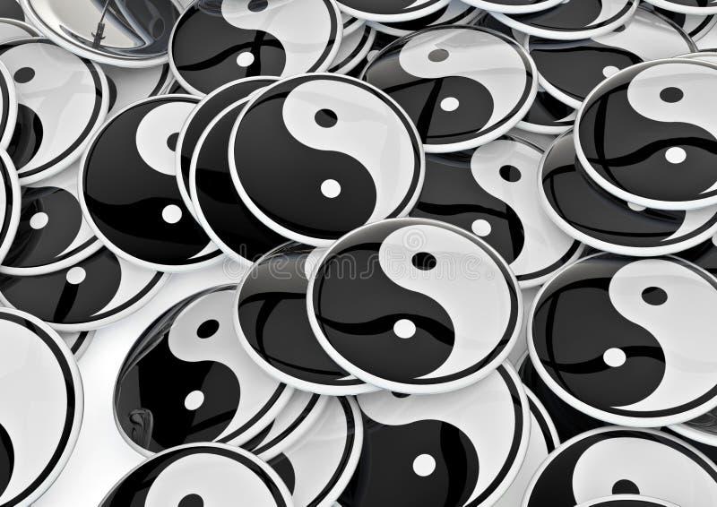 Yin yang badges. Mass of badges with yin yang symbol vector illustration