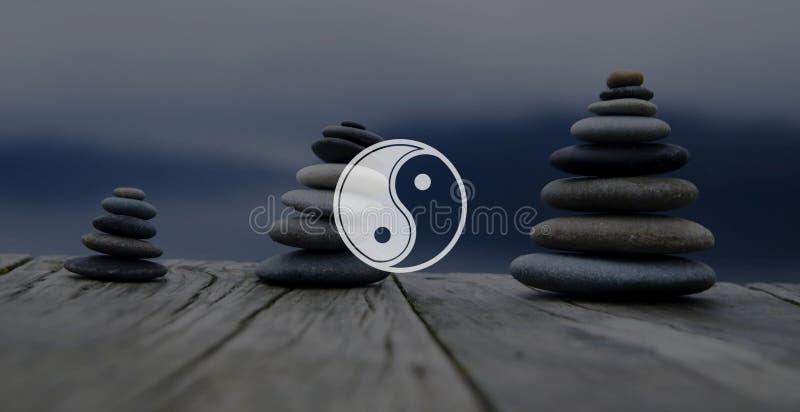 Yin Yang Balance Contrast Opposite Religion kulturbegrepp arkivbilder