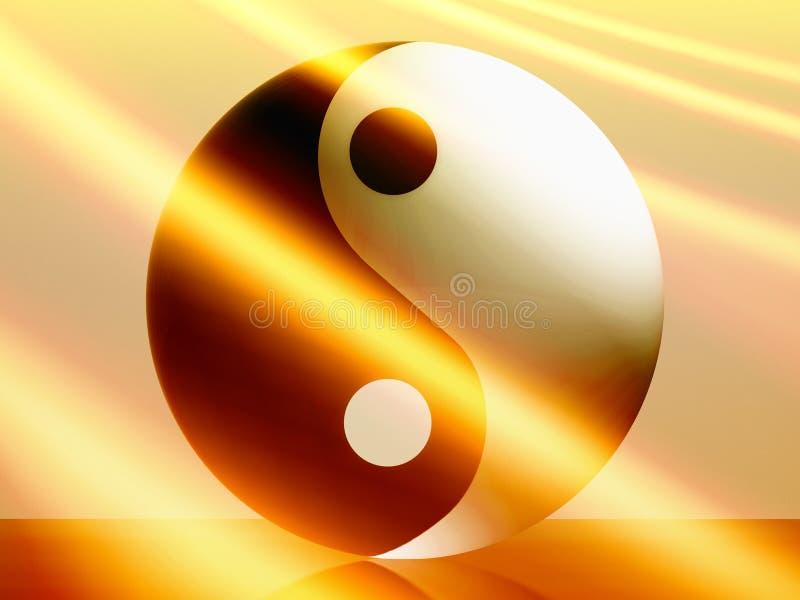 Yin yang balance with flare. Yin yang balance with light flare illustration royalty free illustration