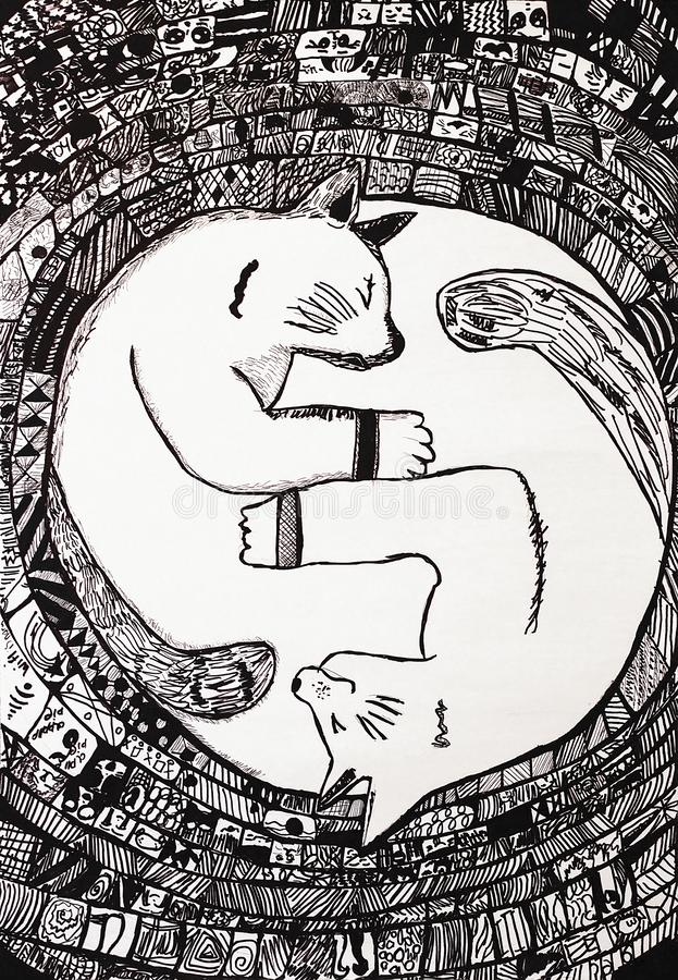 Yin-Yang Black Cat imagem de stock