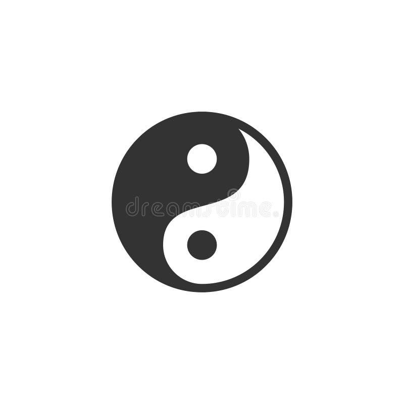 Yin Yang icon flat. Yin Yang. Black Icon Flat on white background stock illustration