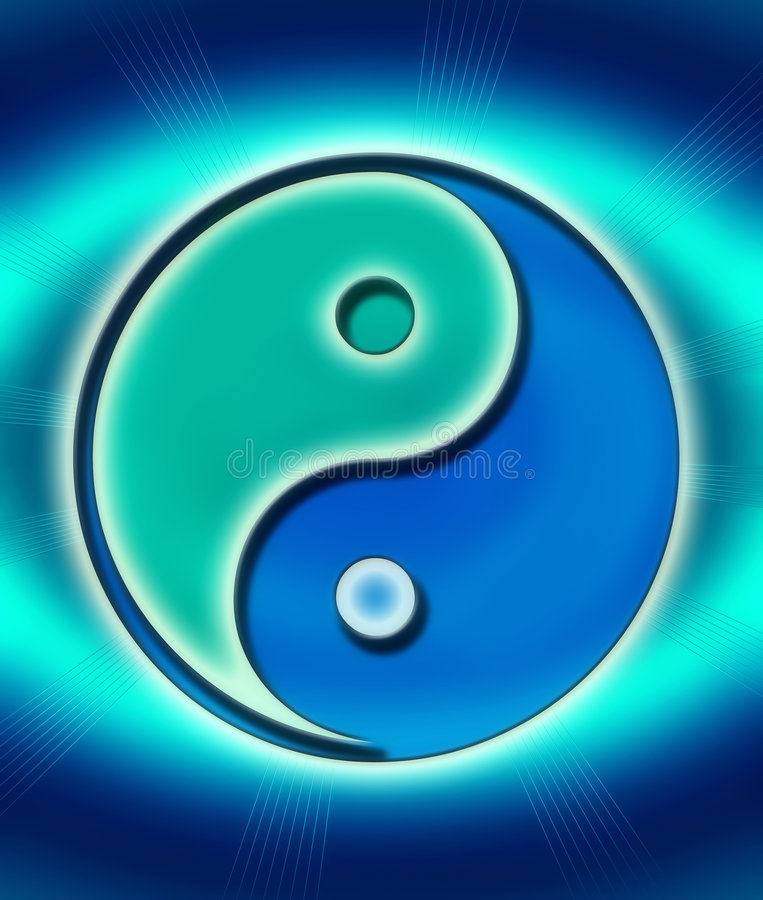 Download Yin-yang in blue green stock illustration. Illustration of fortune - 3576882