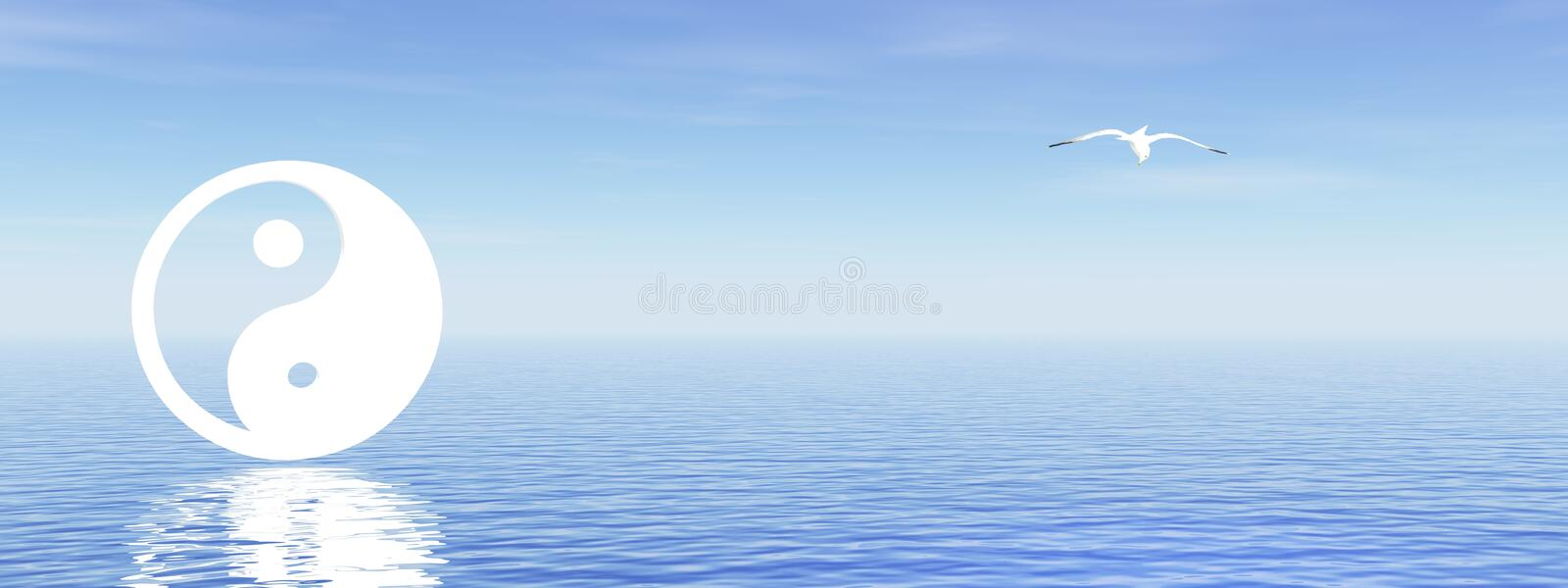 Download Yin and yang on blue ocean stock illustration. Illustration of tranquility - 20046500