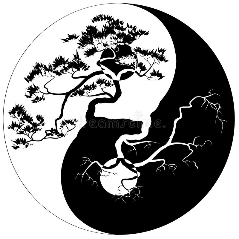 Yin Yang Bonsai vektor illustrationer