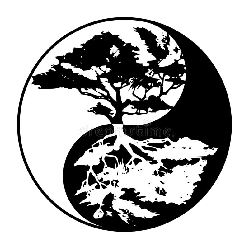 Yin yang boom in zwart-wit royalty-vrije illustratie