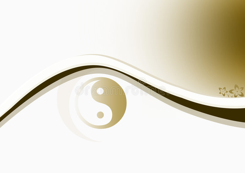 Yin & Yang Brown. Smooth background with yin & yang symbol and curves royalty free illustration